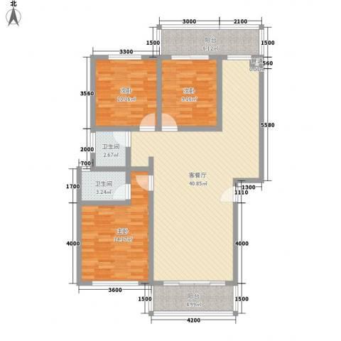 古镇庭苑3室1厅2卫0厨91.43㎡户型图