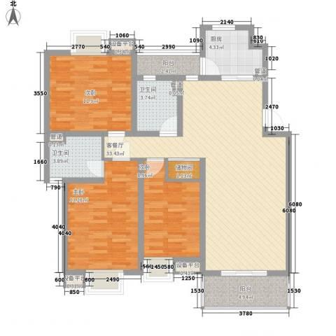 江海皇都3室1厅2卫1厨131.00㎡户型图