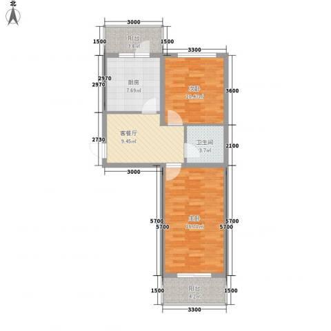 乐嘉茗园2室1厅1卫1厨71.00㎡户型图