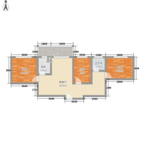 古镇庭苑3室1厅1卫1厨88.00㎡户型图