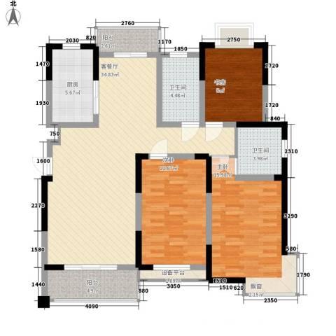 盛鑫金桥世家3室1厅2卫1厨136.00㎡户型图