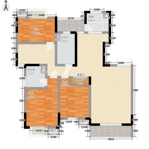 江海皇都3室1厅2卫1厨144.00㎡户型图