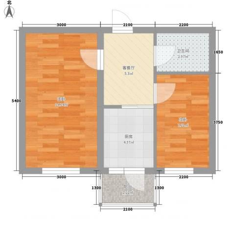 乐嘉茗园2室1厅1卫1厨49.00㎡户型图
