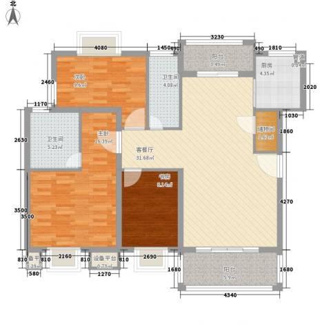 万兆家园莱茵风尚3室1厅2卫1厨131.00㎡户型图