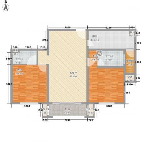 万兆家园莱茵风尚2室1厅2卫1厨170.00㎡户型图