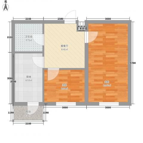 乐嘉茗园2室1厅1卫1厨54.00㎡户型图