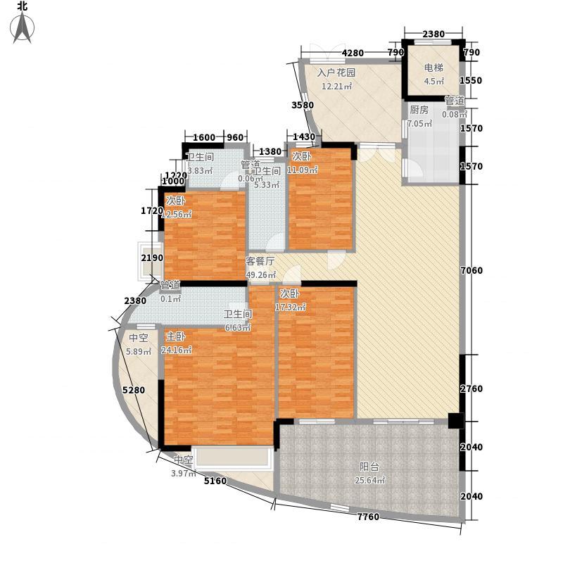 天晟海琴湾13.71㎡海涛阁三-二十一层奇数层03单元户型4室2厅2卫1厨