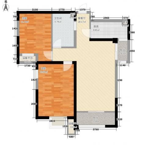 宝能城2室1厅1卫1厨105.00㎡户型图