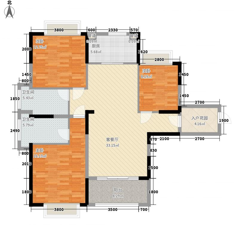 高新・水岸晴沙123.20㎡F1户型3室2厅2卫1厨