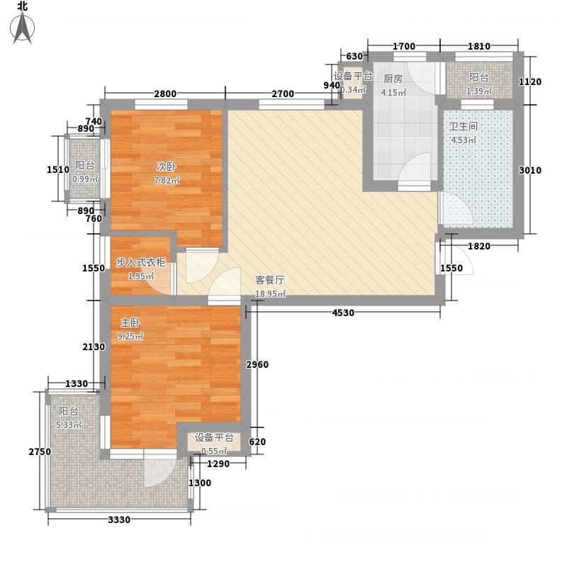 万恒领域82.00㎡万恒领域户型图B3户型2室2厅1卫1厨户型2室2厅1卫1厨