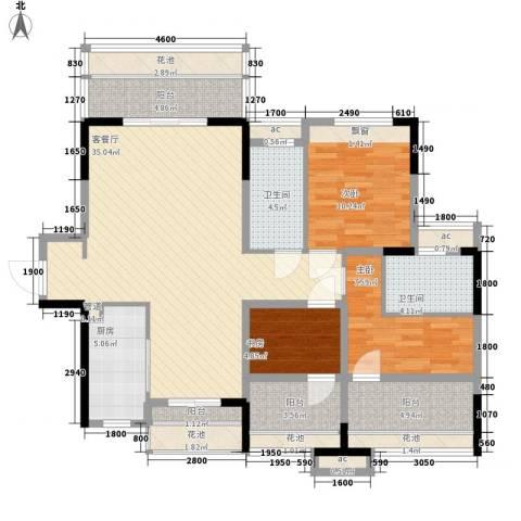 万科劲嘉金域华府3室1厅2卫1厨109.00㎡户型图