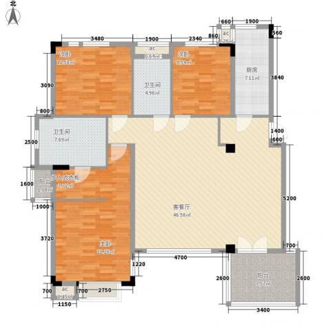 万科劲嘉金域华府3室1厅2卫1厨125.00㎡户型图