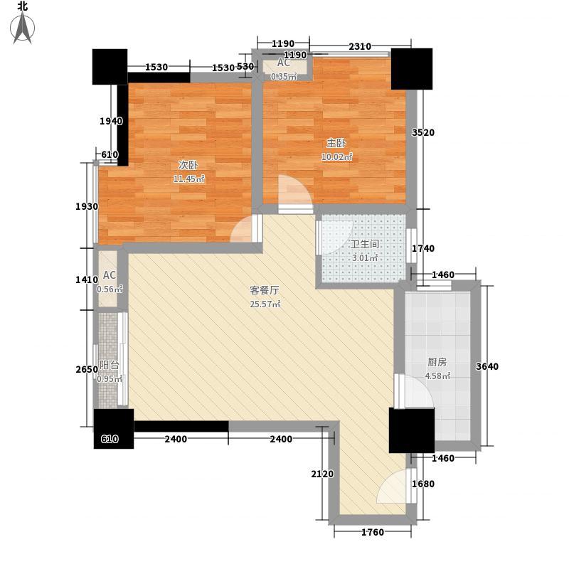 时丰中央公园78.15㎡DK2-1号楼B户型2室1厅1卫1厨