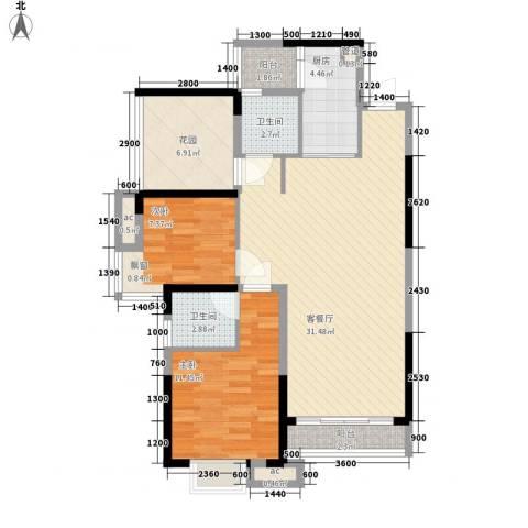 三正卧龙山一号2室1厅2卫1厨95.00㎡户型图