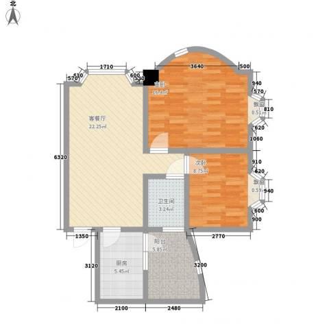 荔景山庄2室1厅1卫1厨89.00㎡户型图