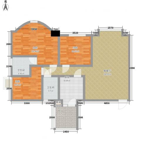 荔景山庄3室1厅2卫1厨128.00㎡户型图