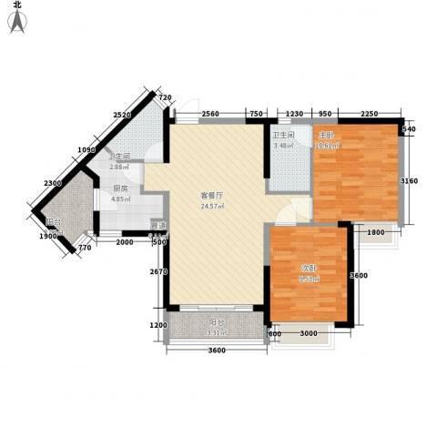 三正卧龙山一号2室1厅2卫1厨84.00㎡户型图