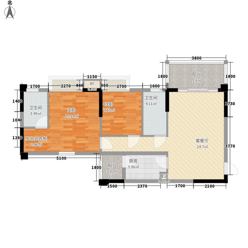 翠湖新苑87.88㎡翠湖豪苑四期户型图32栋3单元5-15层F1户型2室2厅2卫1厨户型2室2厅2卫1厨