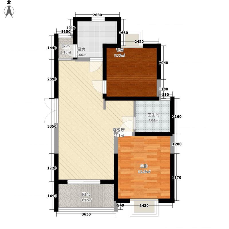 摩卡小城89.81㎡5#2房户型2室2厅1卫1厨