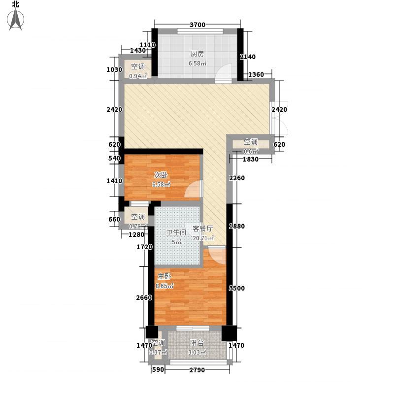 盛泰名都中心户型图3号楼偶数层J户型 2室2厅1卫1厨