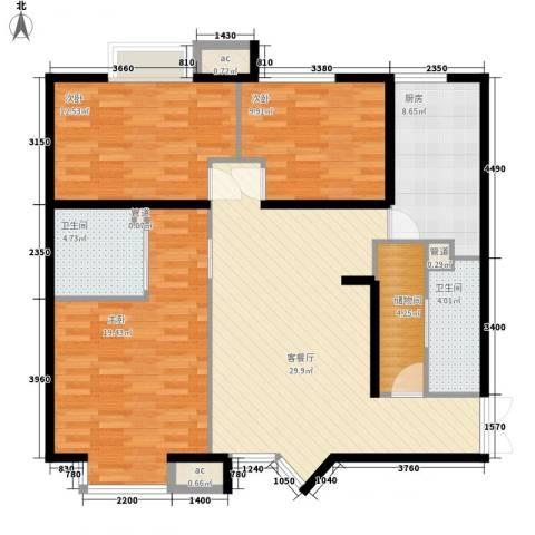 百合佳苑3室1厅2卫1厨134.00㎡户型图