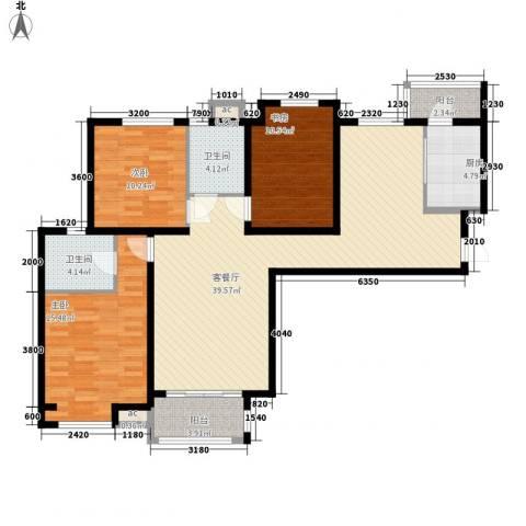 唐园新苑3室1厅2卫1厨127.00㎡户型图