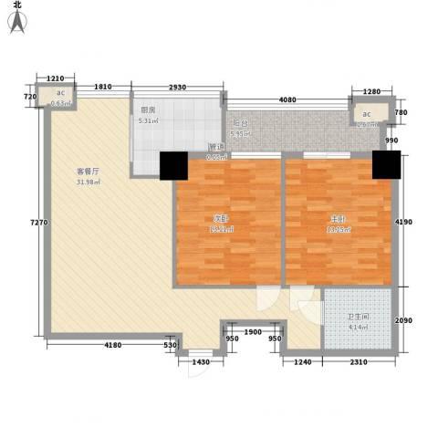 梧桐朗座2室1厅1卫1厨107.00㎡户型图