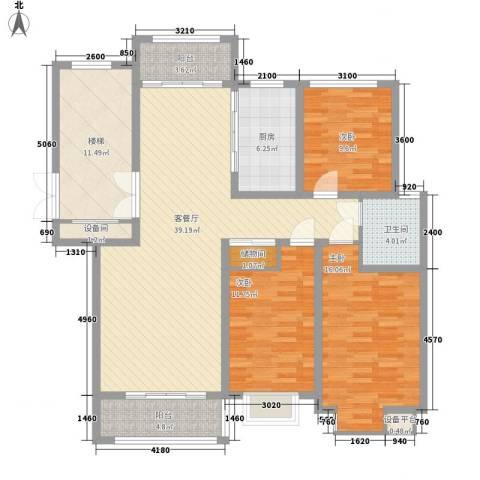 碧龙江畔3室1厅1卫1厨127.00㎡户型图