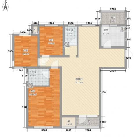 明城东岸3室1厅2卫1厨135.00㎡户型图