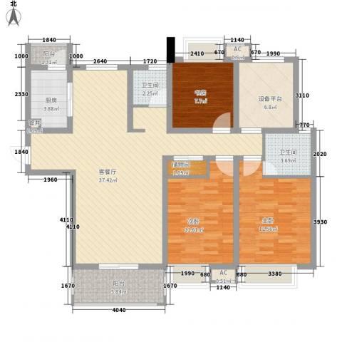 紫晶广场3室1厅2卫1厨139.00㎡户型图