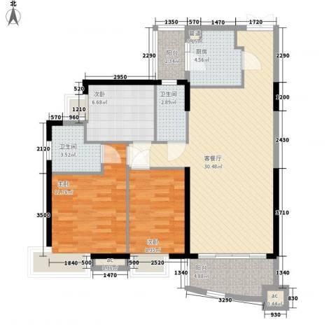 富力朗逸轩3室1厅2卫1厨109.00㎡户型图