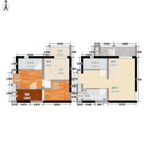 锦尚3室1厅2卫1厨72.00㎡户型图