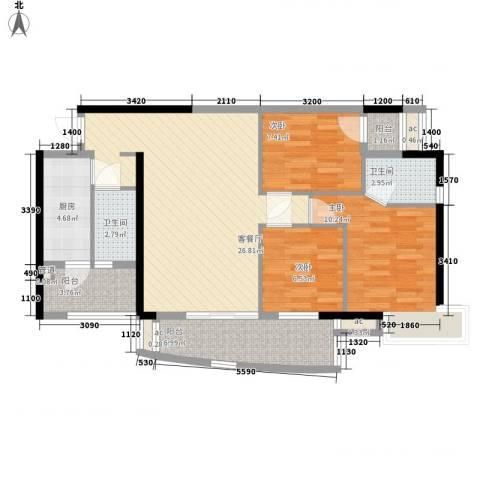 富力朗逸轩3室1厅2卫1厨107.00㎡户型图