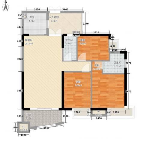 富力朗逸轩3室1厅2卫1厨114.00㎡户型图