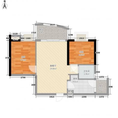 富力朗逸轩2室1厅1卫1厨70.00㎡户型图