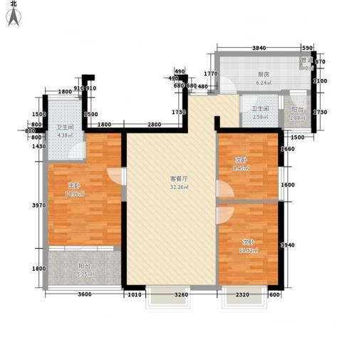 置地广场3室1厅2卫1厨118.00㎡户型图