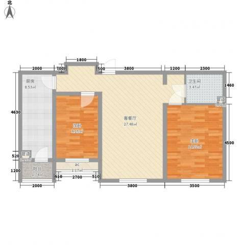 明城东岸2室1厅1卫1厨96.00㎡户型图