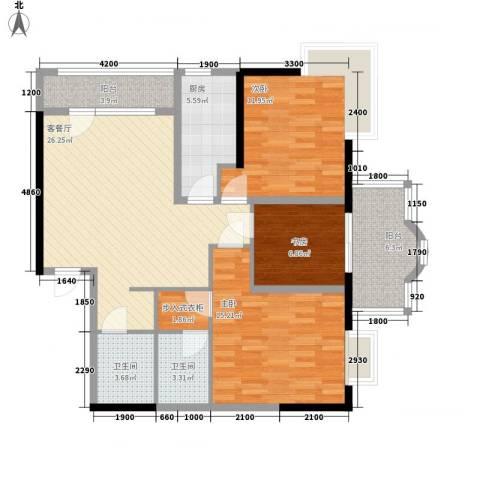菁华领第3室1厅2卫1厨118.00㎡户型图