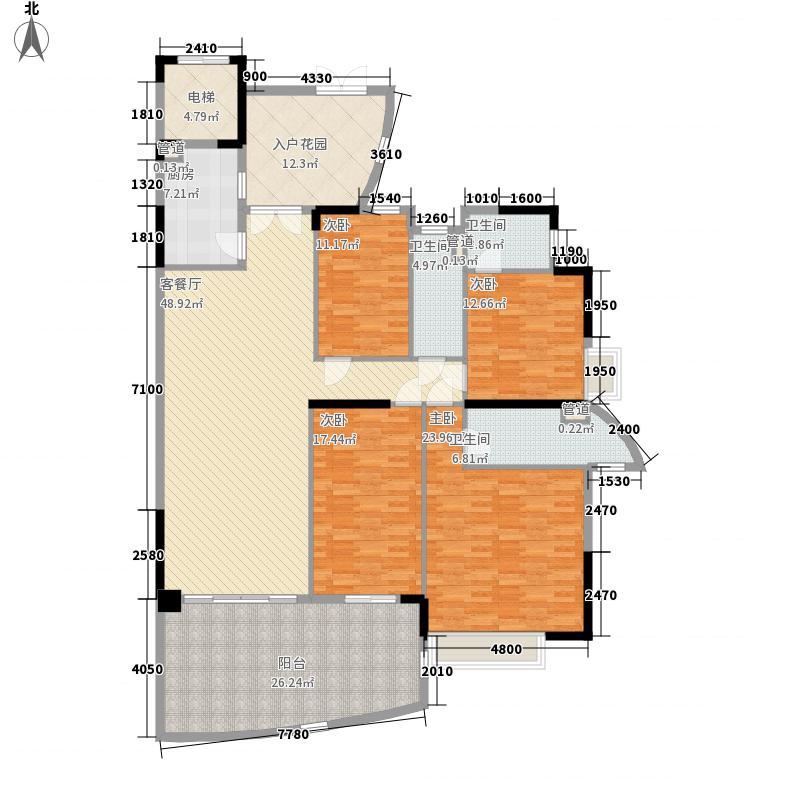 天晟海琴湾15.63㎡海涛阁三-二十一层偶数层04单元户型4室2厅2卫1厨