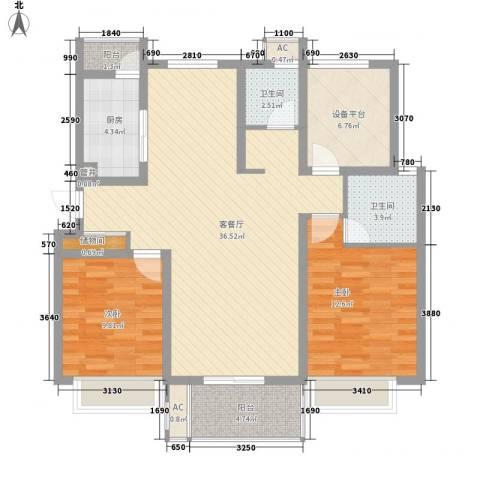 紫晶广场2室1厅2卫1厨122.00㎡户型图
