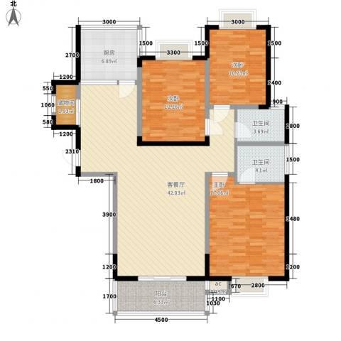 高新水晶岛3室1厅2卫1厨149.00㎡户型图