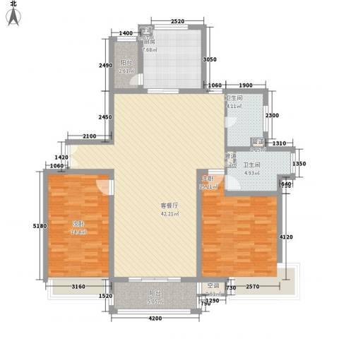 古北嘉年华庭2室1厅2卫1厨139.00㎡户型图