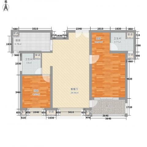 古北嘉年华庭2室1厅2卫1厨114.00㎡户型图