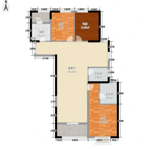 置地广场3室1厅2卫1厨140.00㎡户型图