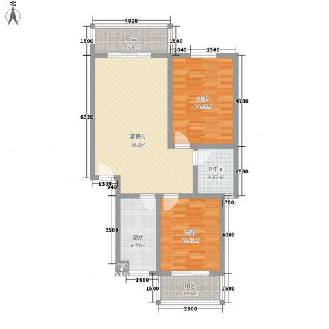 古镇庭苑2室1厅1卫1厨87.00㎡户型图