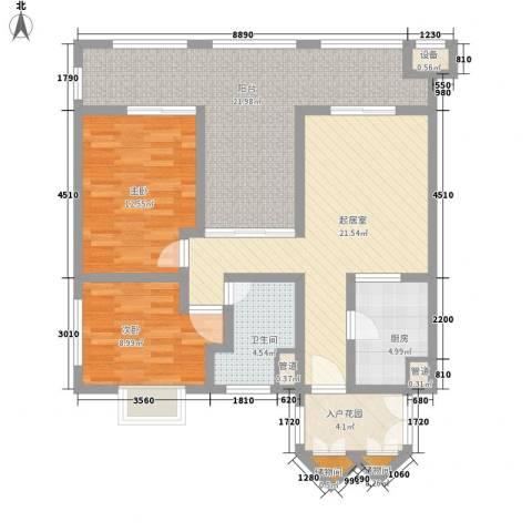 国信龙沐湾2室0厅1卫1厨108.00㎡户型图