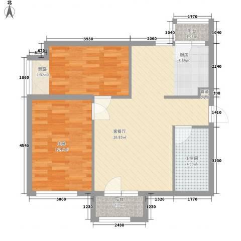 大连天地・悦翠台2室1厅1卫0厨81.00㎡户型图