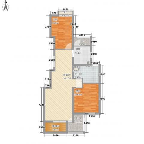 欧风家园2室1厅1卫1厨95.00㎡户型图