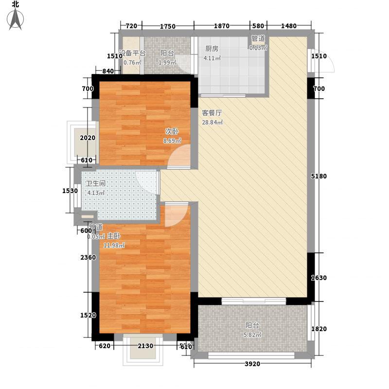 山水檀溪二期82.67㎡檀园F2户型2室2厅1卫1厨