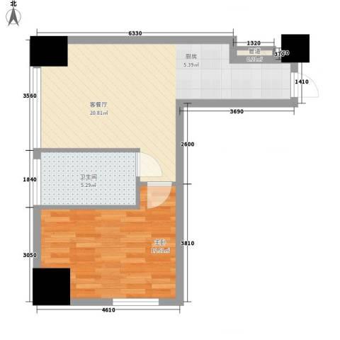 亿锋现代城1室1厅1卫0厨65.00㎡户型图